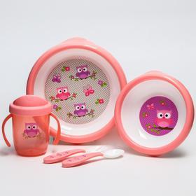 Набор детской посуды: тарелочки, поильник, столовые приборы, цвет розовый