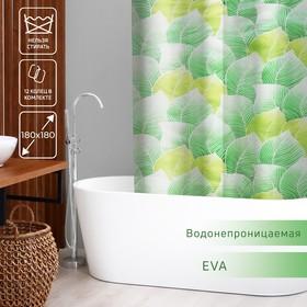 Штора для ванной комнаты Доляна «Листья», 180×180 см, EVA
