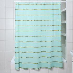 """Штора для ванной 180×180 см """"Лайн"""", EVA, цвет голубой"""