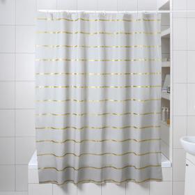 """Штора для ванной 180×180 см """"Лайн"""", EVA, цвет серый"""