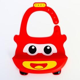 """Нагрудник силиконовый """"Такси"""", цвет красный"""
