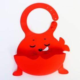 Нагрудник силиконовый «Морской котик», цвет красный