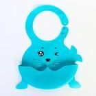 """Нагрудник силиконовый """"Морской котик"""", цвет голубой - фото 959461"""