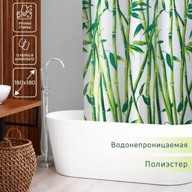 Штора для ванной комнаты Доляна «Бамбук», 180×180 см, EVA