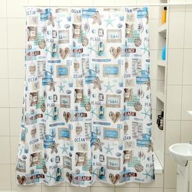 Штора для ванной комнаты Доляна «Морская идиллия», 180×180 см, EVA