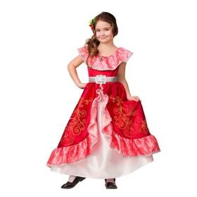 """Карнавальный костюм """"Елена из Авалора"""", текстиль, платье, пояс, заколка, р.32, рост 128 см"""