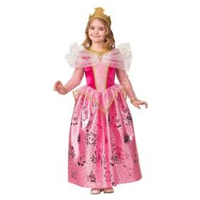 Карнавальный костюм «Принцесса Аврора», текстиль, платье, корона, брошь, ожерелье, р. 30, рост 116 см