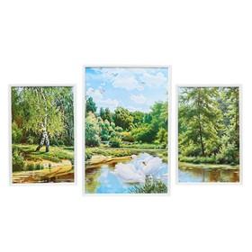 "Модульная картина ""Лебеди в лесу"" 60х100 см"