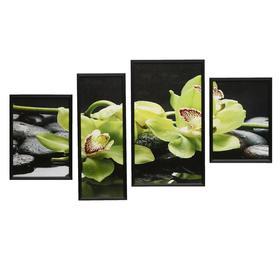 """Модульная картина """"Зеленые орхидеи""""  60х107 см(32х55; 21х55; 2шт-27х37)"""