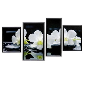 "Модульная картина ""Белые орхидеи"" 60х107 см(32х55; 21х55; 2шт-27х37)"