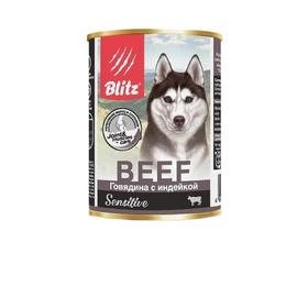 Влажный корм Blitz для собак, говядина/индейка, 400 г Ош