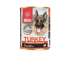 Влажный корм Blitz для собак, индейка/печень, 400 г Ош