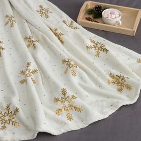 "Plaid Ethel ""Golden snowflake"", white, 180x200 cm, coral fleece"