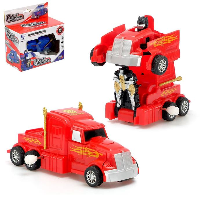 Робот «Герой», трансформируется, заводной механизм, цвет красный - фото 105505174