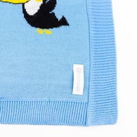 "Вязаный плед ""Крошка Я"" Туканы, размер 90х90 см, цвет голубой - фото 7399069"