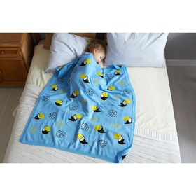 "Вязаный плед ""Крошка Я"" Туканы, размер 90х90 см, цвет голубой - фото 7399074"