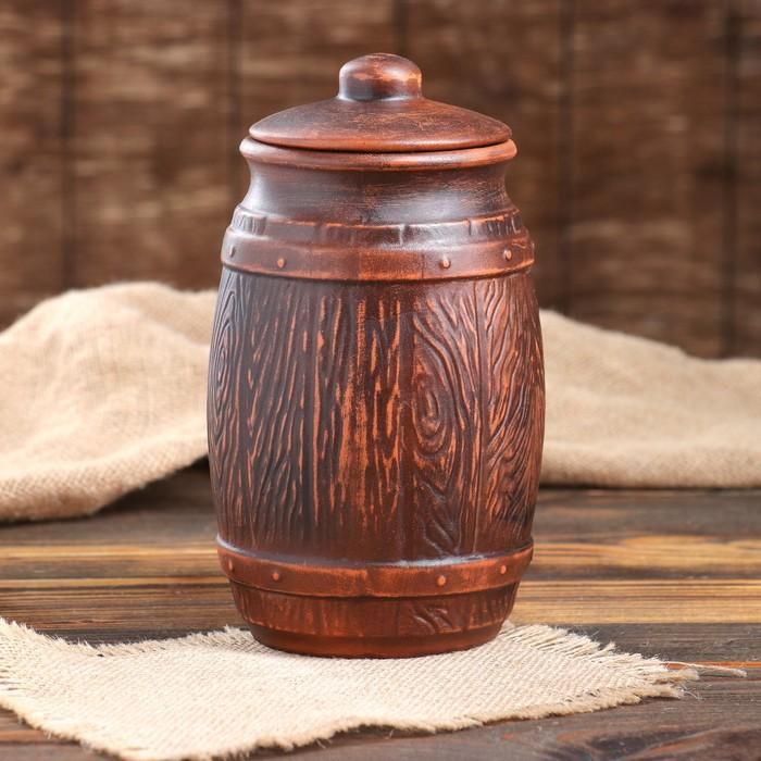 Бочонки для сыпучих декор красная глина 1,5 л