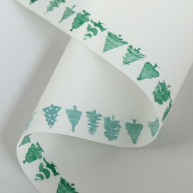 Film for flowers with a border, 60 cm x 5 m green