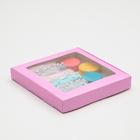 Коробка картонная, с окном, сиреневая, 21 х 21 х 3 см