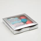 Коробка картонная, с окном, серебрянная, 21 х 21 х 3 см