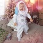 """Карнавальный костюм для малышей """"Зайчик с голубыми ушами"""", велюр, хлопок, рост 74-92 см"""