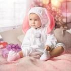 """Карнавальный костюм для малышей """"Зайчик с розовыми ушами"""", велюр, хлопок, рост 74-92 см"""