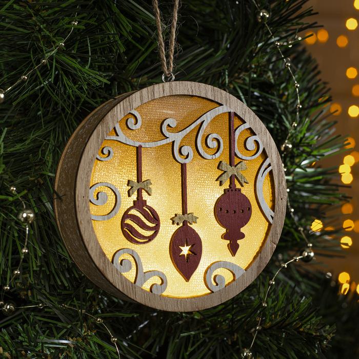 """Подвеска световая  шар """"Новогодние игрушки"""", 11х11х3 см, 4 LED, бат.(не в комп), Т/БЕЛЫЙ - фото 687157581"""