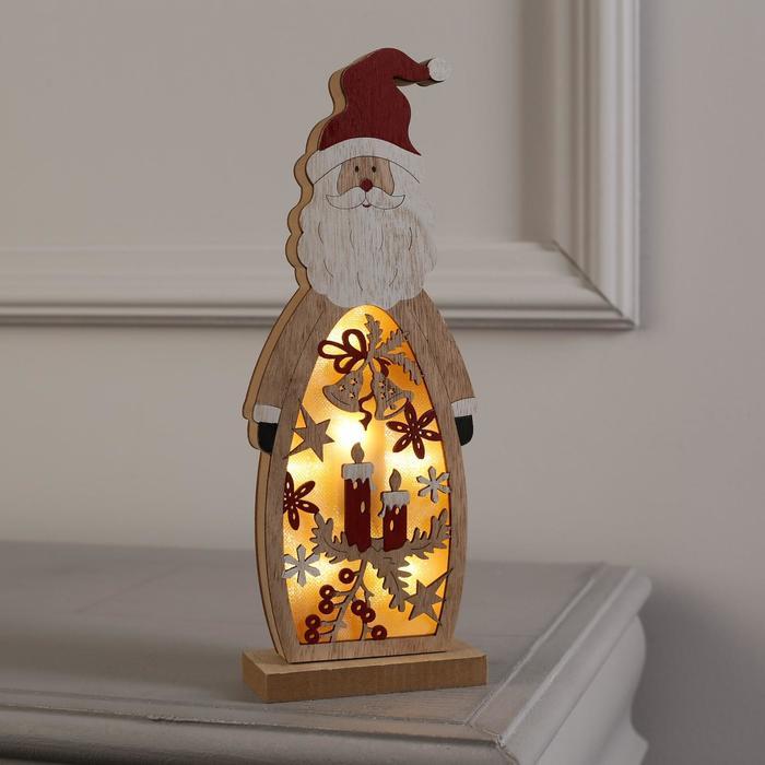 """Фигура дерев. """"Дед мороз"""", 28х11х5 см, АА*2 (не в компл.), 7 LED, ТЁПЛОЕ БЕЛОЕ - фото 747433"""