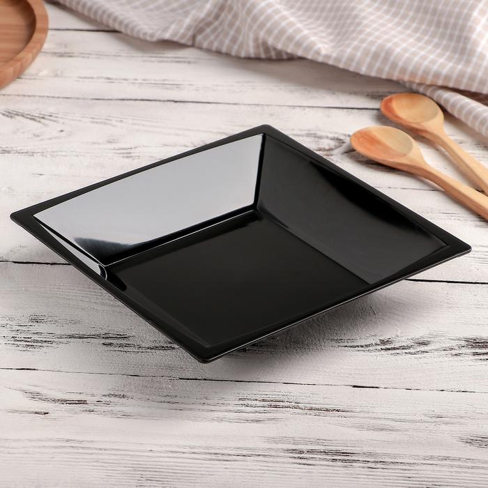 Тарелка квадратная глубокая, 17,2 см, цвет МИКС