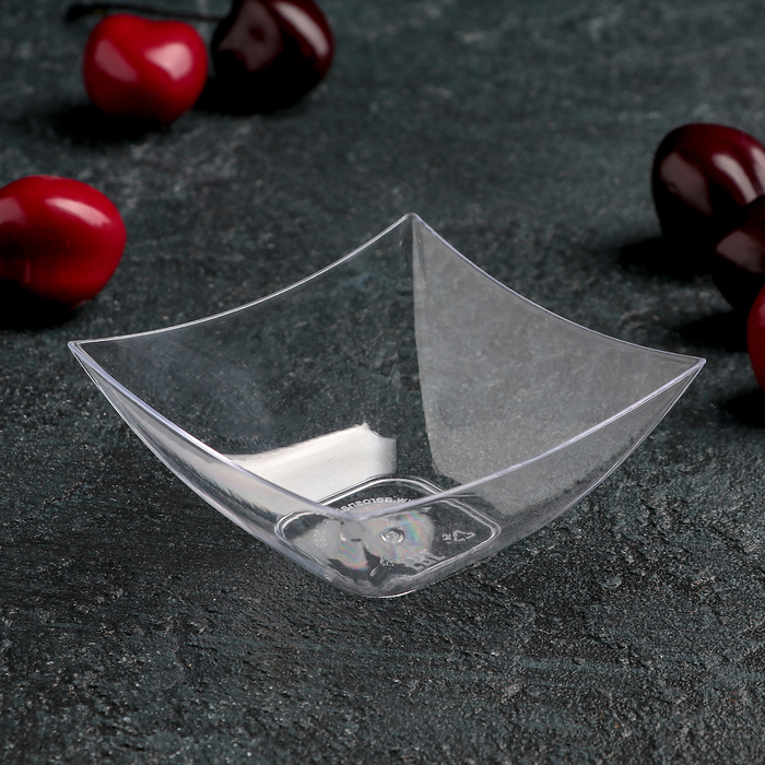 Мини-чашка 90 мл «Квадрат», 7×7 см, прозрачная