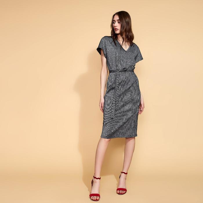 Платье прямое с поясом MINAKU, размер 44, цвет чёрный - фото 725224779