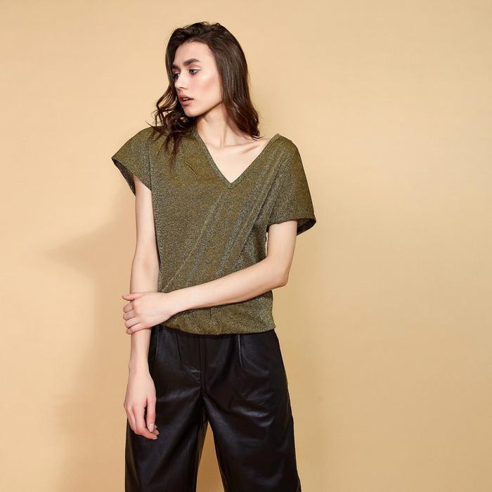 Блуза с V-вырезом женская MINAKU, размер 44, цвет хаки - фото 725223552