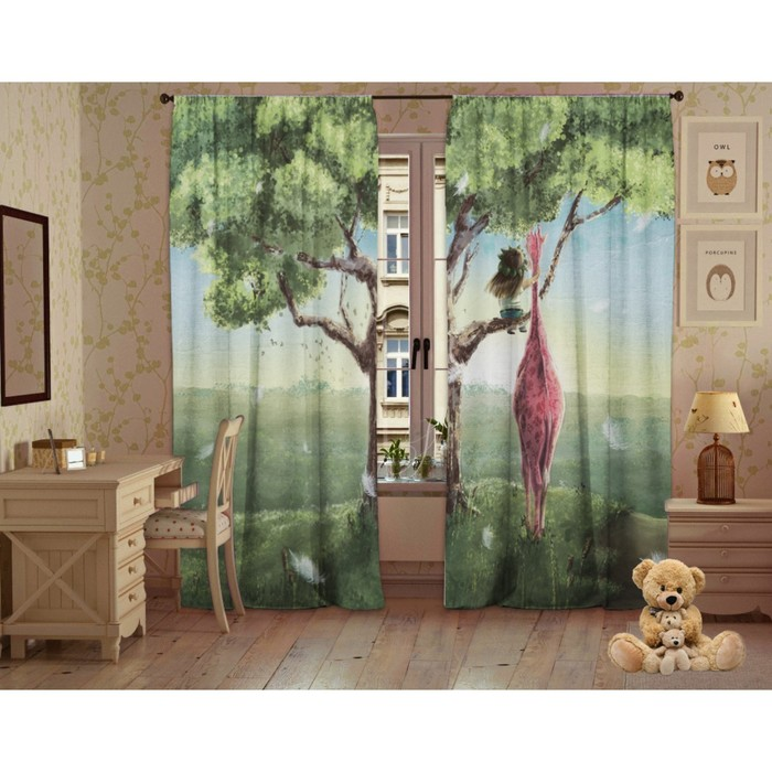 Комплект штор Детские мечты, 147х267 +/- 3см 2шт, габардин, п/э100%