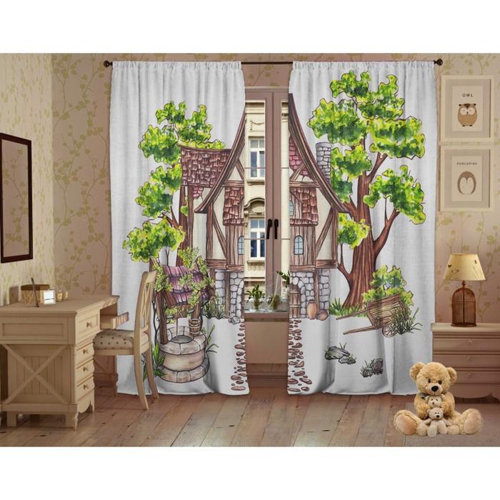 Комплект штор Домик в лесу, 147х267 +/- 3см 2шт, габардин, п/э100%