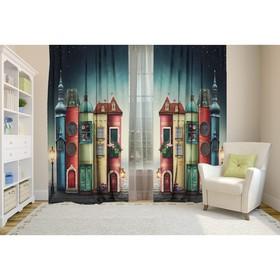 Комплект штор Разноцветные домики, 147х267 +/- 3см 2шт, габардин, п/э100%