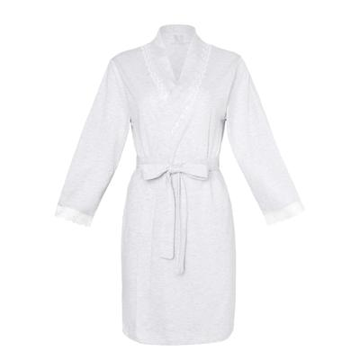 Bathrobe women's KAFTAN with lace, gray, R. S (42-44)