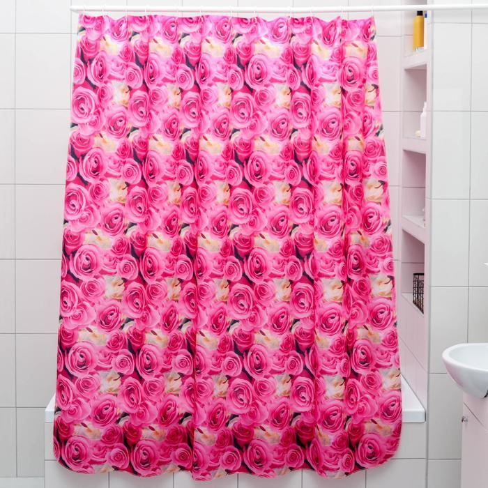 Штора для ванной комнаты «Розы», 180×180 см, полиэстер