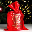 "Bag ""happy new year! 2020 rat"", satin, with drawstring, red, 20x30 cm"
