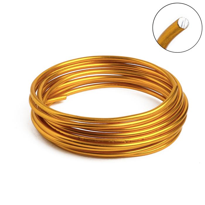 Проволока для плетения D=3.8мм, намотка 3м, цвет золотой - фото 697988