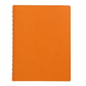Бизнес-блокнот А5, 120 листов на гребне «Оранжевый», искусственная кожа, прошивка, в индивидуальной упаковке