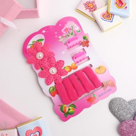 """Набор для волос """"Софи"""" (7 резинок, 2 краба) цветочки, розовый"""