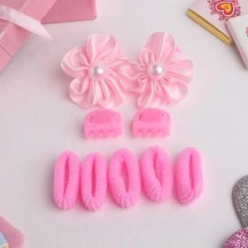 """Набор для волос """"Софи"""" (7 резинок, 2 краба) цветы с бусиной, розовый в Донецке"""