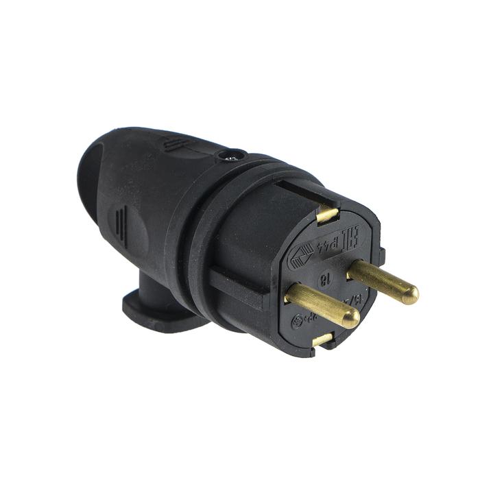 Вилка переносная угловая с кольцом В16-002, 16 А, 250 В, IP44, с з/к, каучук, черная