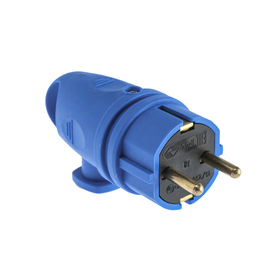 Angle portable plug with ring B 16-002, 16 A, 250 V, IP44, s / c, rubber, blue