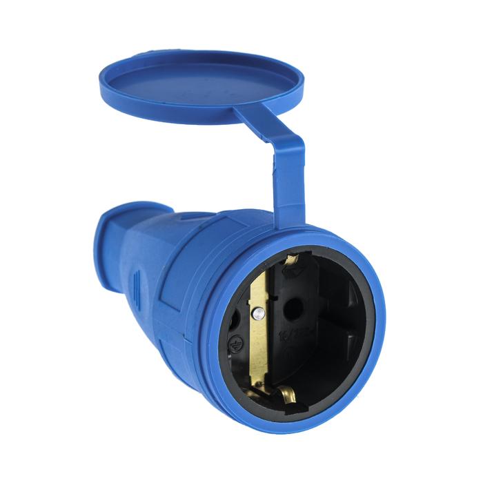 Розетка переносная 16-005, 16 А, 250 В, IP44, с з/к, с заглушкой, каучук, синяя