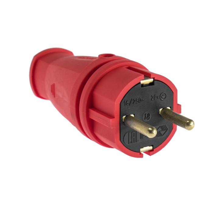 Вилка переносная В16-001, 16 А, 250 В, IP44, с з/к, каучук, красная
