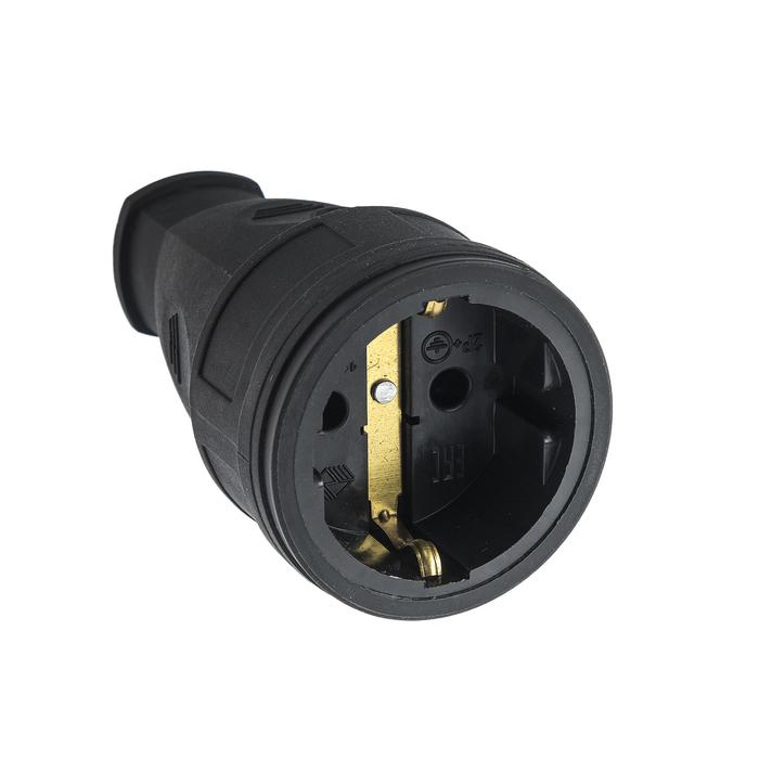Розетка переносная 15-005, 16 А, 250 В, IP20, с з/к, без заглушки, каучук, черная