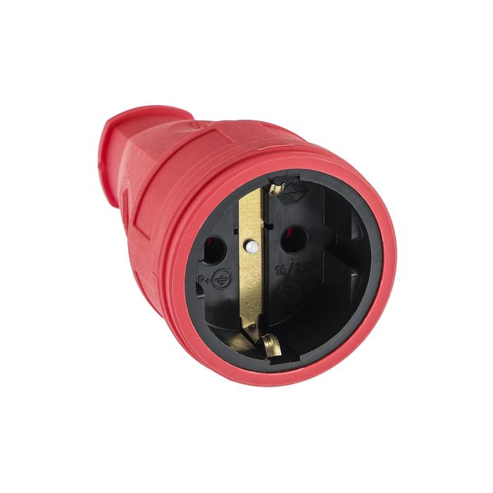 Розетка переносная 16-005, 16 А, 250 В, IP20, с з/к, без заглушки, каучук, красная