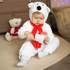 Карнавальный костюм для малышей «Белый медвежонок» с красным шарфом, велюр, хлопок, рост 74-92 см
