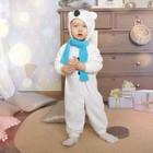 Карнавальный костюм для малышей «Медвежонок белый» с голубым шарфом, велюр, хлопок, рост 74-92 см